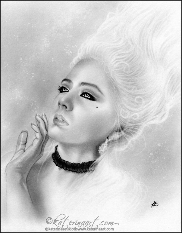 Fantasy portrait of Marie Marie Antoinette Black And White Painting